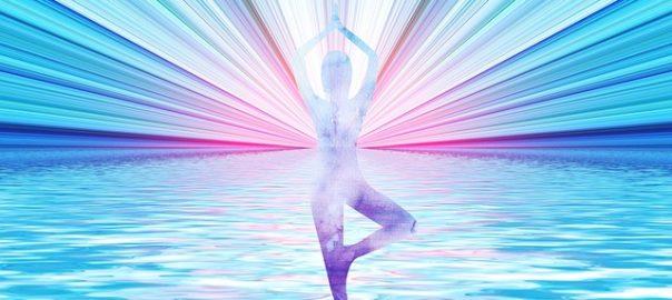 Lichtgestalt Yoga blau rosa
